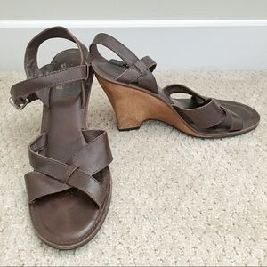 Michael Kors Leather and Wood Wedge Sandals
